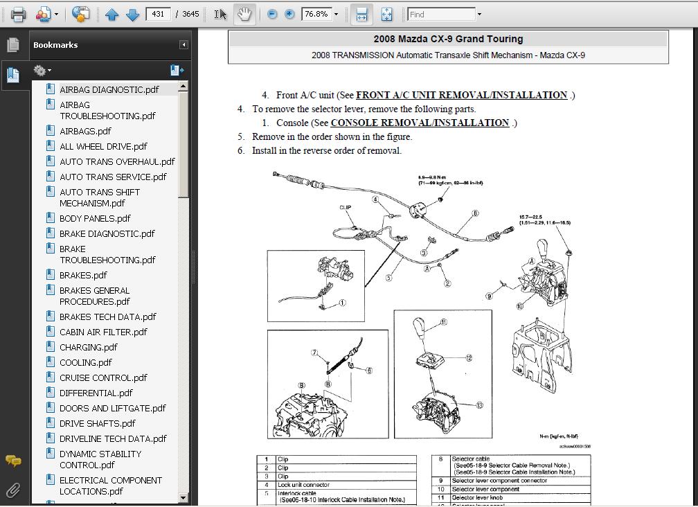 mazda cx9 cx 9 2007 2009 service repair manual download. Black Bedroom Furniture Sets. Home Design Ideas